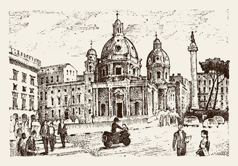 landscape in European town Rome in Italy . engraved hand drawn in old sketch and vintage style. historical architecture with buildings, perspective view. Travel postcard. Trajan Column.