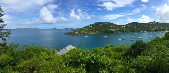 Panorama of Great Cruz Bay harbor, St. John, USVI, Virgin Islands, Caribbean