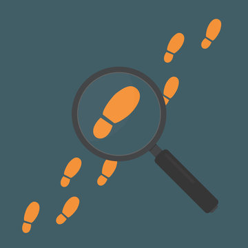 Magnifying Glass with Footstep. Detective inspecting Concept