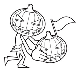 Black And White Funny Cartoon Pumpkin Illustration. Halloween Day Isolated Pumpkin Vector Illustration.