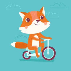 Vector cartoon illustration in simple childish style with fox