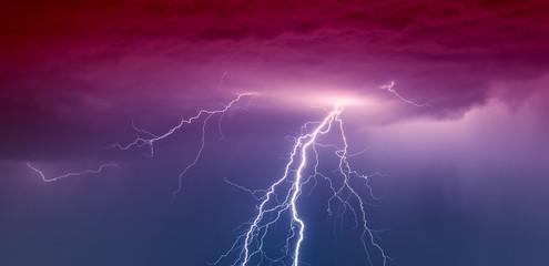 Powerful Lightning Strikes ,colorful thunder sky