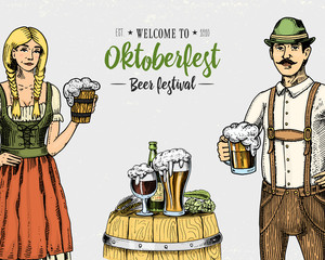 A woman and man in traditional Belgian or Bavarian clothes with beer. engraved in ink hand drawn in old sketch and vintage style for web or pub menu. design of oktoberfest on gray background.