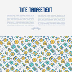 Time management concept with thin line icons. Development of business process. Vector illustration for banner, web page, print media.