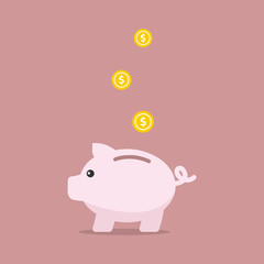 Piggy bank in flat style, Vector illustration