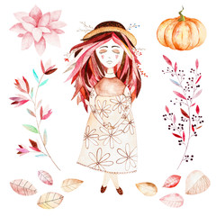 This autumn set included sweet girl,autumn leaves,branches,flower,beautiful pumpkin.This nice collection perfect for decorating your autumn sketchbook,notepad,for create wreaths,bouquets,patterns.