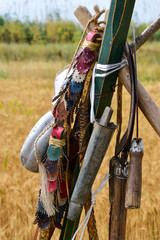 retro harvesting tools hanging on a sickle