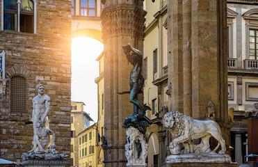 Sculpture of Loggia dei Lanzi and Palazzo Vecchio on Piazza della Signoria in Florence, Italy.