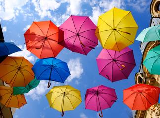 Multicoloured suspended umbrellas
