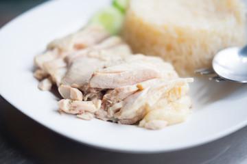 "Chicken rice it called ""Khao Man Kai"""