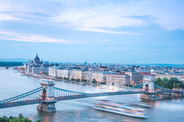 The picturesque landscape of the Parliament and the bridge over the Danube in Budapest, Hungary, Europe