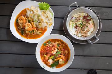 Thai manu set on wood table