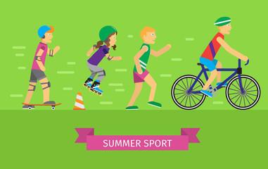 Summer Sport Vector Concept in Flat Design