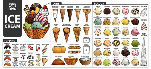 Set of isolated all part of ice cream for build your own style. Cute hand drawn in colorful and black outline.
