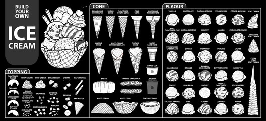 Set of isolated all part of ice cream for build your own style. Cute hand drawn in white silhouette and black outline.