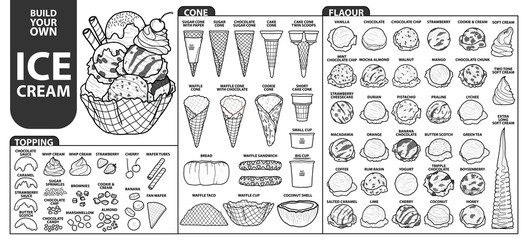Set of isolated all part of ice cream for build your own style. Cute hand drawn in black outline and white plane.