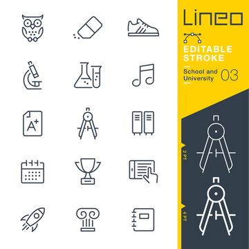 Lineo Editable Stroke - School and University line icons Vector Icons - Adjust stroke weight - Expand to any size - Change to any colour