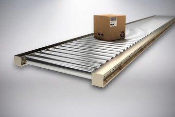 Composite image of packed cardboard box on production line