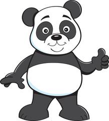 Cartoon illustration of a panda bear giving thumbs up.
