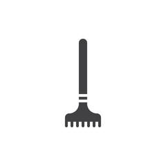 Rake icon vector, filled flat sign, solid pictogram isolated on white. Symbol, logo illustration