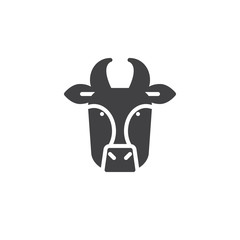 Cow head icon vector, filled flat sign, solid pictogram isolated on white. Symbol, logo illustration