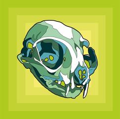 cat skull sticker avatar green squares