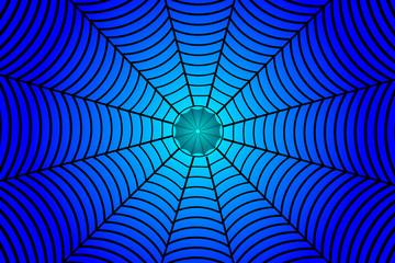 Black spider web on blue background - vector pattern