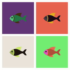 Vector sea fish collection