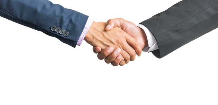 Bussines hand shaking will show succesful cooperation.isolated on white