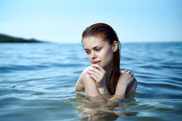 woman in the sea, portrait, water
