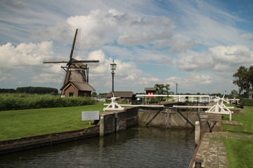 Historical Sluice on the river Rotte close to Rotterdam