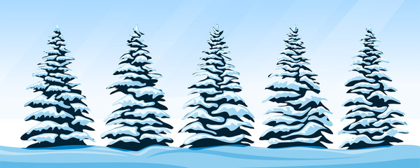 Set of snow-covered firs