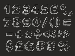 Vector hand drawn alphabet numbers