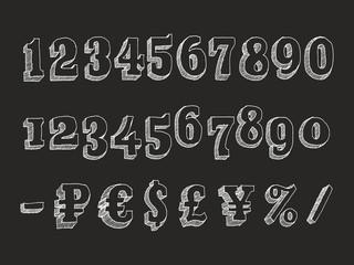 Retro serif font numbers