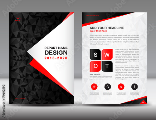 Annual Report Brochure Flyer Template Black Cover Design Business