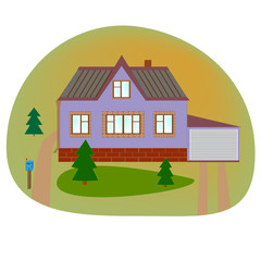 Beautiful house. Flat style modern buildings. Home. Country cottage. Vector illustration