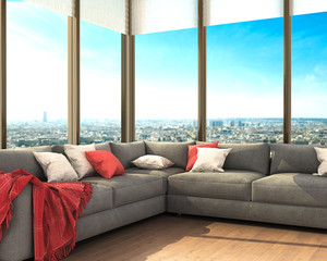 Современный интерьер роскошной гостиной, диван с подушками рядом с большими окнами с видом на город. 3d иллюстрации