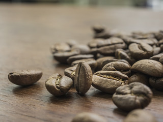 Coffee bean on the wood table