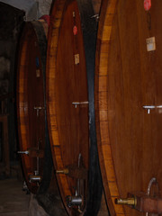 Wine barrels in the cellar