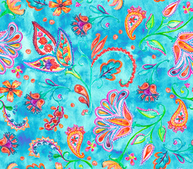Hand drawn flower seamless pattern (tiling). Colorful seamless pattern with flowers, paisley and leaves. Doodle style. Perfect for textile, cover design.