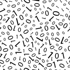 Black and white seamless pattern with binary code