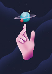 Pink hand and planet orbit