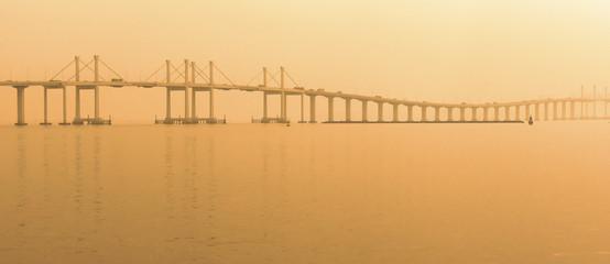 Canvas Prints Bridge Panoramic view Hong Kong-Zhuhai- Macau bridge at sunset