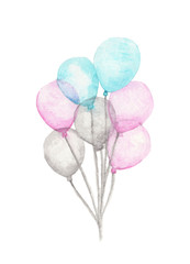 Watercolor Colorful Bunch of Balloons isolated on white background. Greeting object art