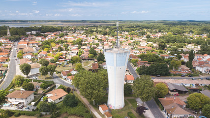 Town Water Tower Reserve / France Aerial view 4K