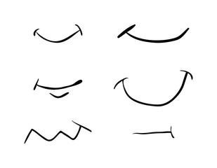 cartoon simple smile set vector symbol icon design. Beautiful illustration isolated on white background