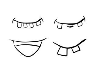 cartoon mouth with  teeth set vector symbol icon design. Beautiful illustration isolated on white background