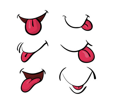 cartoon mouth with tongue set vector symbol icon design. Beautiful illustration isolated on white background