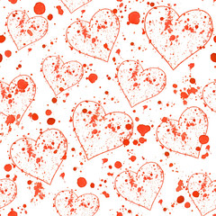 Red splashes and hearts pattern