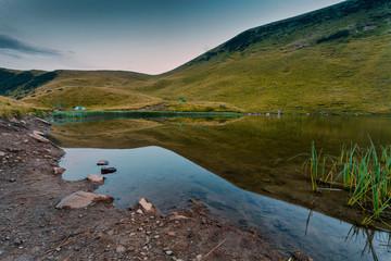 Mountain lake summer clean water